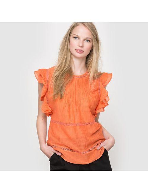Pepe Jeans | Женская Оранжевая Блузка Hanna С Короткими Рукавами С Воланами