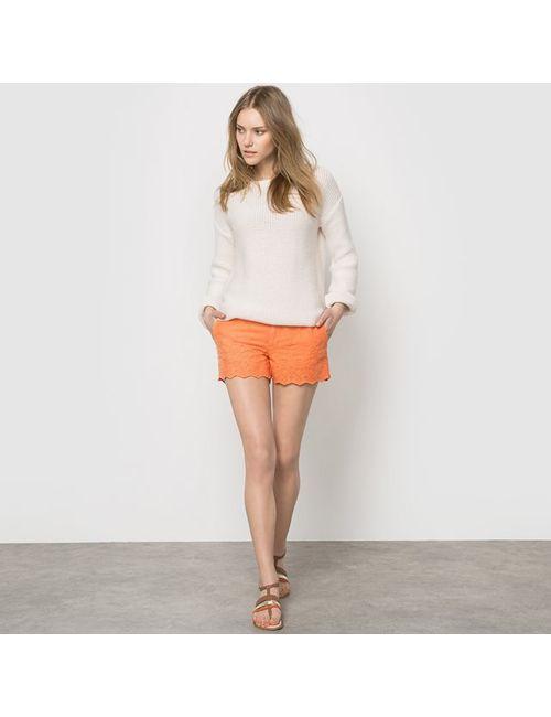 Pepe Jeans   Женские Оранжевые Шорты Tundra С Однотонной Вышивкой