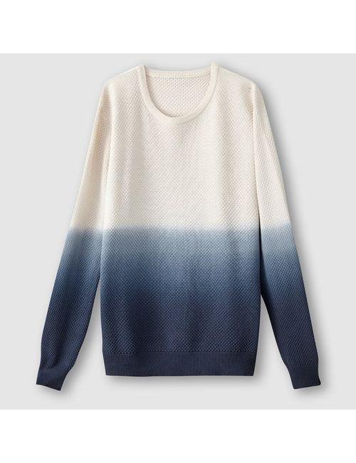SOFT GREY | Мужской Синий Пуловер С Эффектом Деграде 100 Хлопка