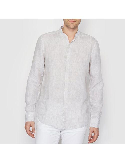 R essentiel   Мужская Бежевая Рубашка В Тонкую Полоску Из 100 Льна