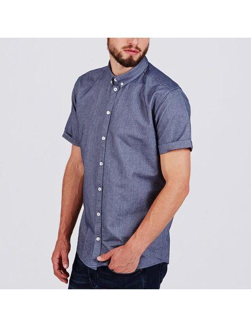 Minimum | Мужская Синяя Рубашка С Короткими Рукавами 100 Хлопка River