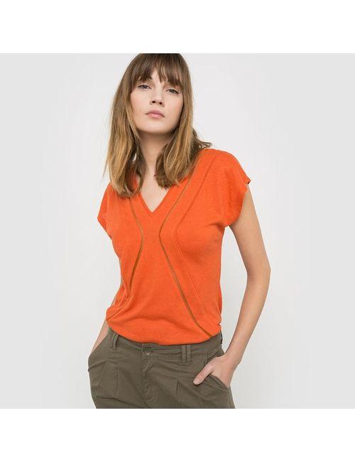 SOFT GREY | Женская Оранжевая Футболка С Короткими Рукавами 100 Льна