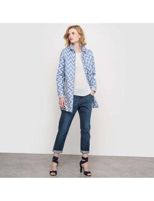 Numph | Женское Синее Пальто Короткое С Графичным Зигзагообразным Узором Karen