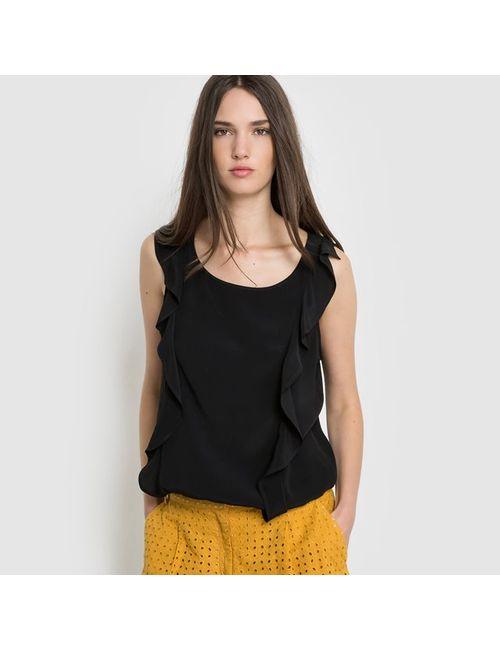 Мини-цена | Женская Чёрный Блузка Украшенная Воланом Без Рукавов Однотонная