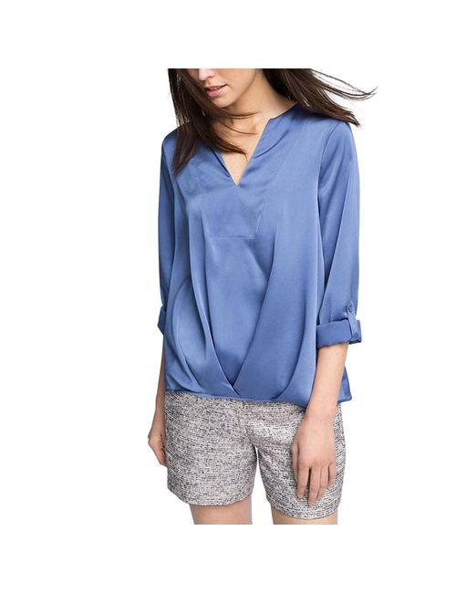 Esprit | Женская Синяя Блузка С Длинными Рукавами