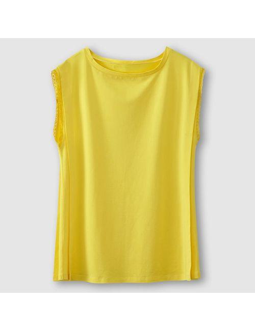 Мини-цена | Женская Жёлтая Футболка Кружевная Без Рукавов