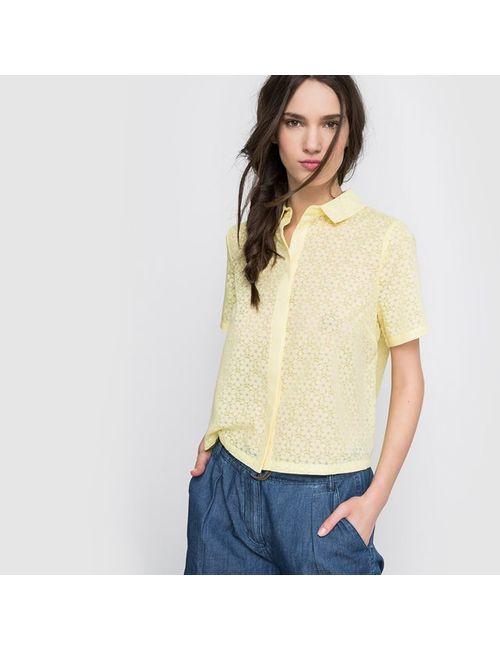 Pepaloves | Женская Жёлтая Рубашка С Короткими Рукавами