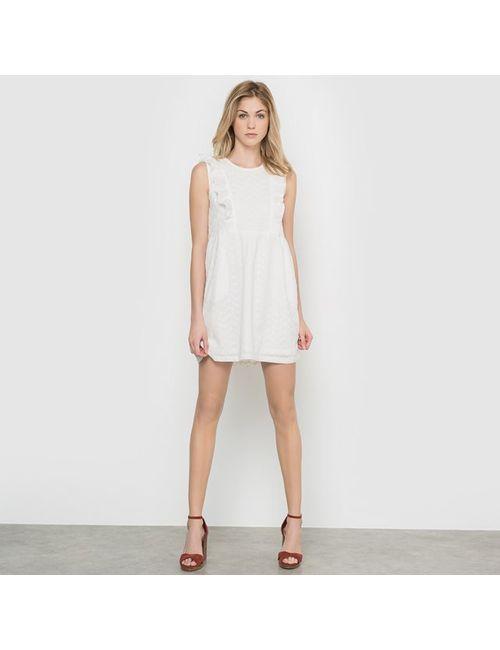 Compania Fantastica   Женское Белое Платье Без Рукавов С Воланами Mallorca Off