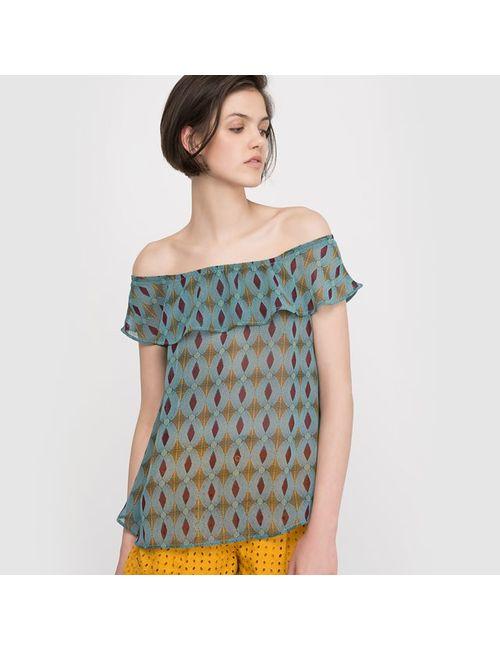 Мини-цена | Женская Блузка С Рисунком Открытые Плечи
