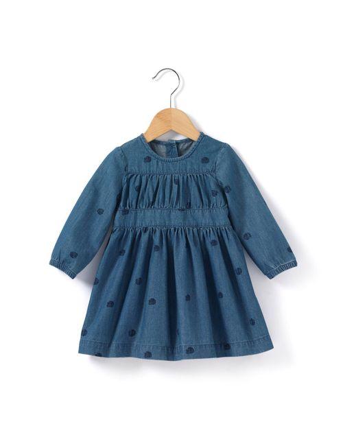 R baby | Синее Платье Джинсовое С Небольшим Принтом