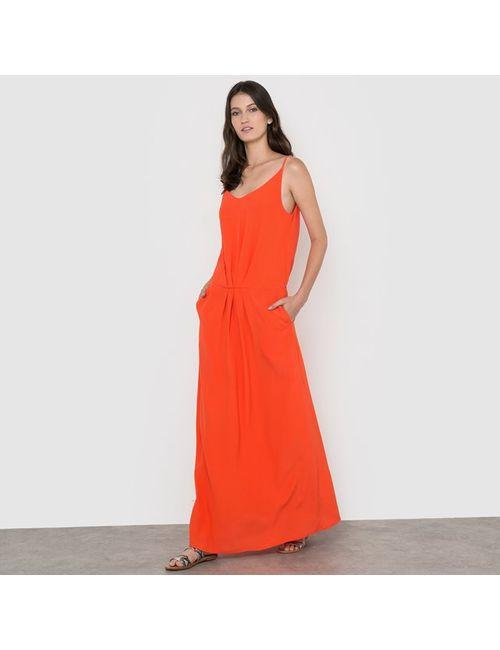 SOFT GREY | Оранжевое Платье Длинное Однотонное