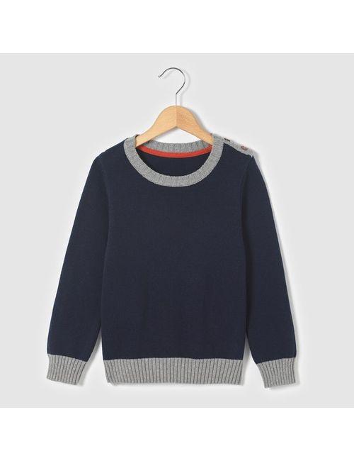 Мини-цена   Синий Пуловер Однотонный