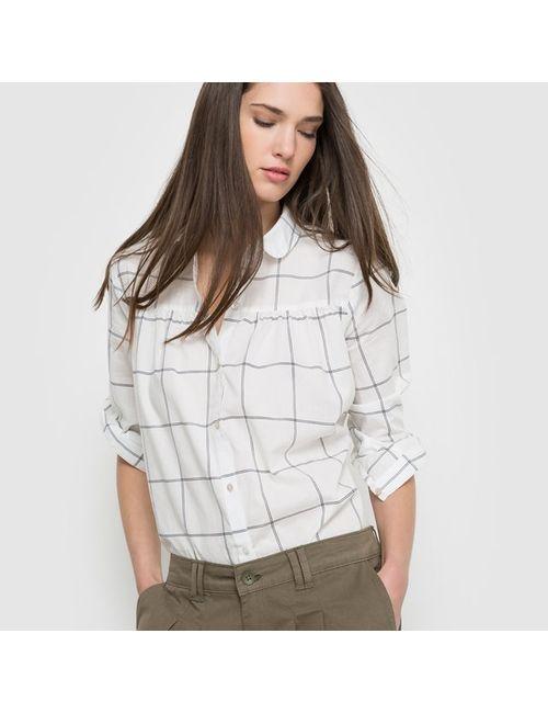 SOFT GREY   Женская Набивной Рисунка Рубашка В Клетку