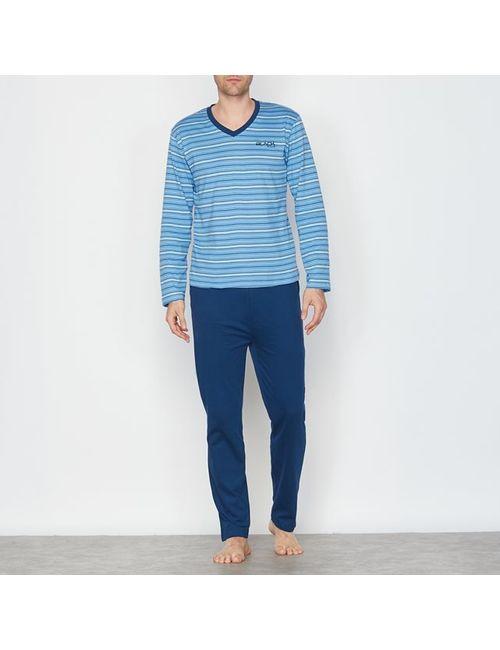 R essentiel | Мужская Синяя Пижама Двухцветная С V-Образным Вырезом. Длинные Рукава