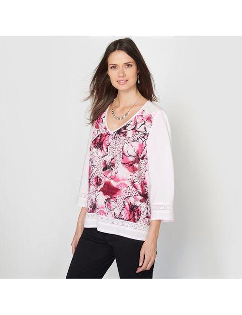 ANNE WEYBURN | Женская Розовая Блузка С Рисунком Из Струящейся Ткани