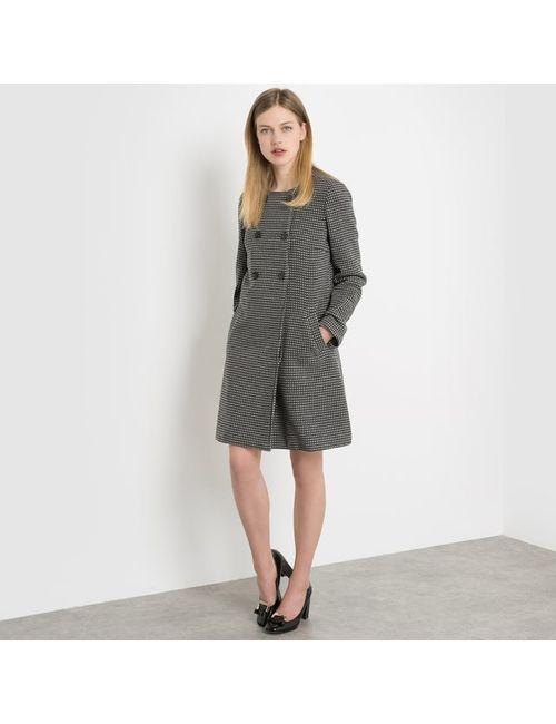 R édition | Женское Черный Пальто Двубортное В Горох