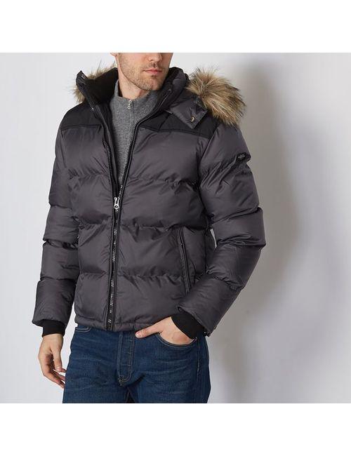 Schott | Чёрная Стеганая Куртка С Капюшоном