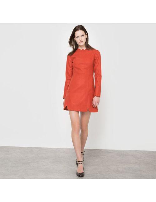 CORALIE MARABELLE X LA REDOUTE MADAME | Женское Красное Платье С Длинными Рукавами
