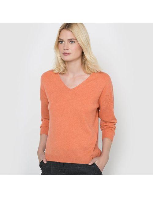 R studio | Женский Оранжевый Пуловер С V-Образным Вырезом 100 Кашемира