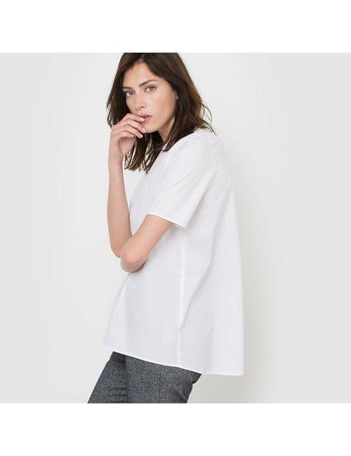 R essentiel | Женская Белая Блузка Из Хлопка С Короткими Рукавами