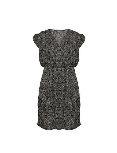 ICHI | Женское Чёрное Платье Из Струящейся Ткани С Короткими Рукавами