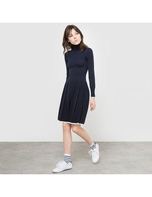 R édition   Женское Синее Платье-Пуловер Из Трикотажа