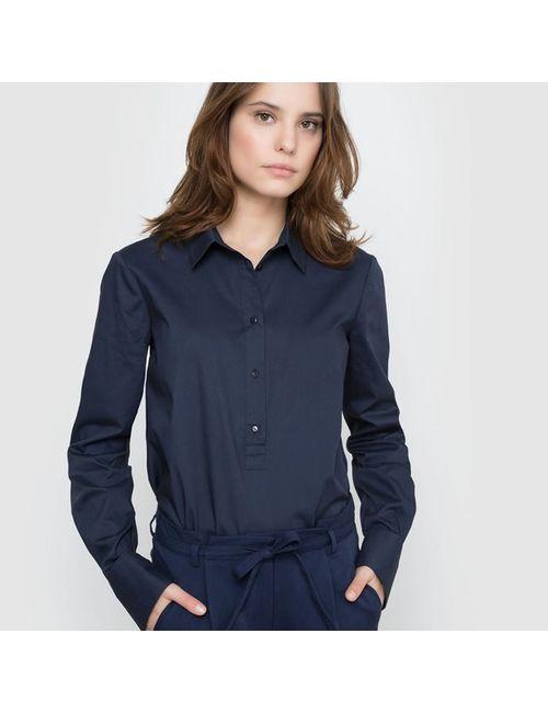 atelier R | Женская Синяя Рубашка С Длинными Рукавами Из Поплина