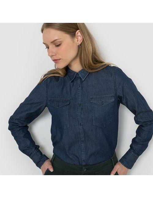 R édition | Женская Синяя Рубашка Из Лёгкого Денима С Длинными Рукавами