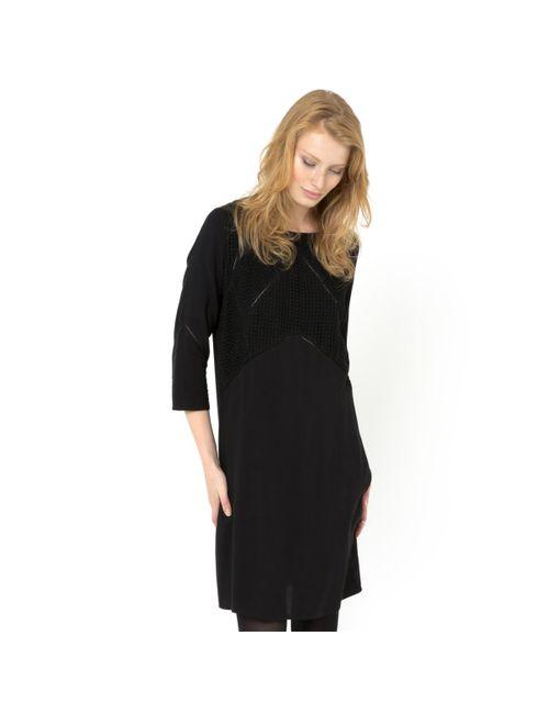 SOFT GREY | Женское Черный Платье С Деталями Из Гипюра