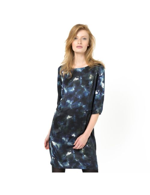 SOFT GREY | Женское Набивной Рисунок Платье С Рисунком 100 Шелка