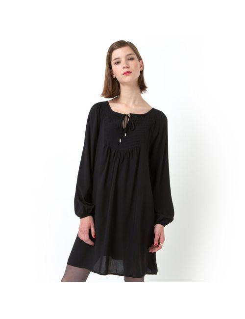 Мини-цена | Женское Чёрное Платье С Манишкой