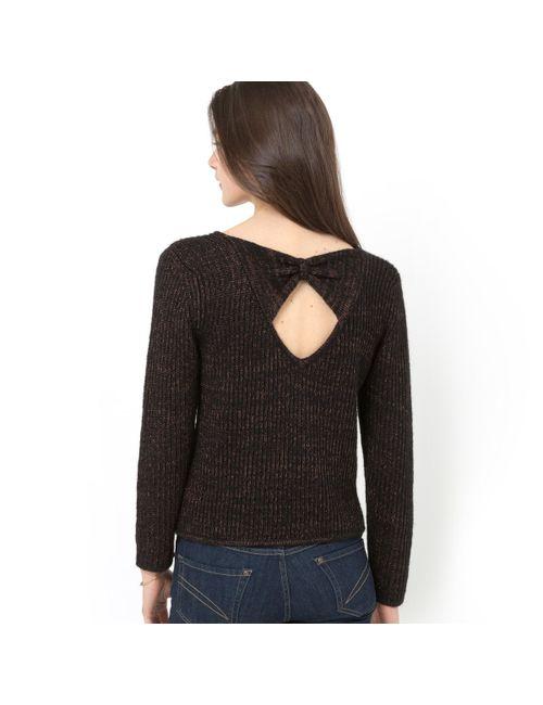 Мини-цена | Женский Розовый Пуловер Из Трикотажа С Блеском Бант Сзади