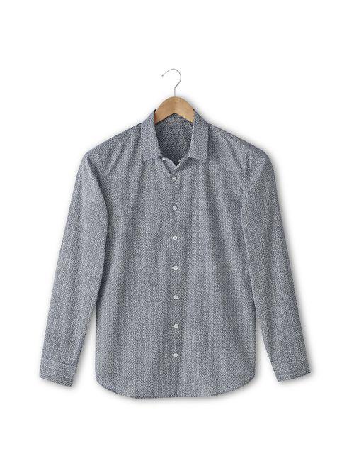 SOFT GREY | Мужская Синяя Рубашка С Рисунком Облегающего Покроя