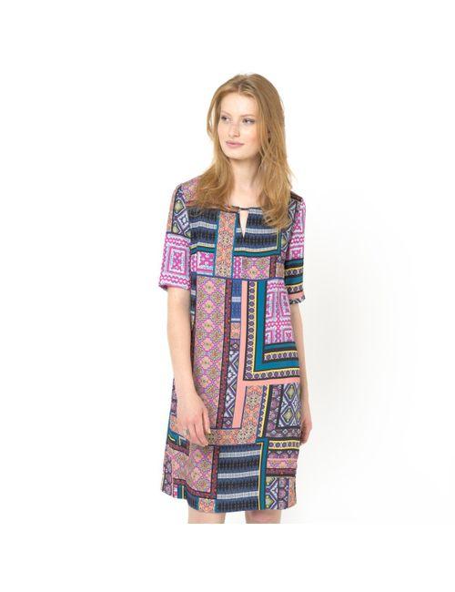 SOFT GREY | Женское Набивной Рисунок Платье С Рисунком Платка