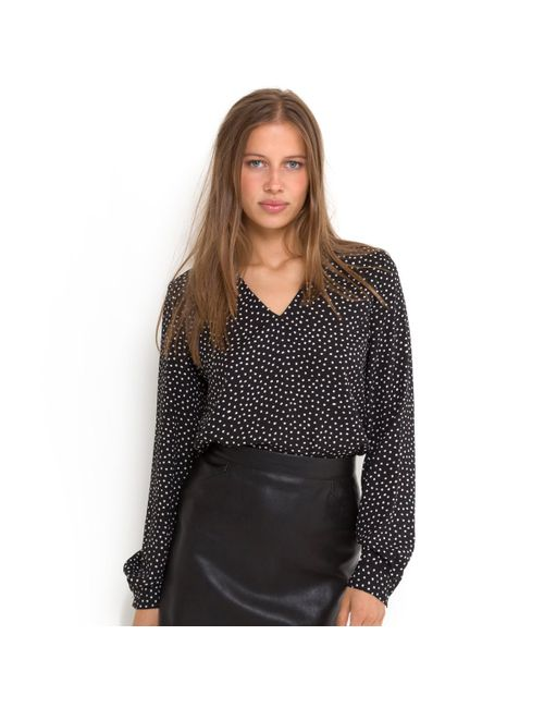 R essentiel | Женская Чёрная Блузка В Горошек С V-Образным Вырезом И