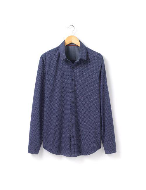 R essentiel | Мужская Синяя Рубашка Прямого Покроя С Длинными Рукавами И