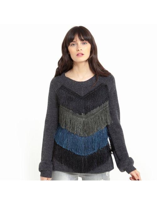 SOFT GREY | Женский Серый Пуловер Из Трикотажа С V-Образным Вырезом И