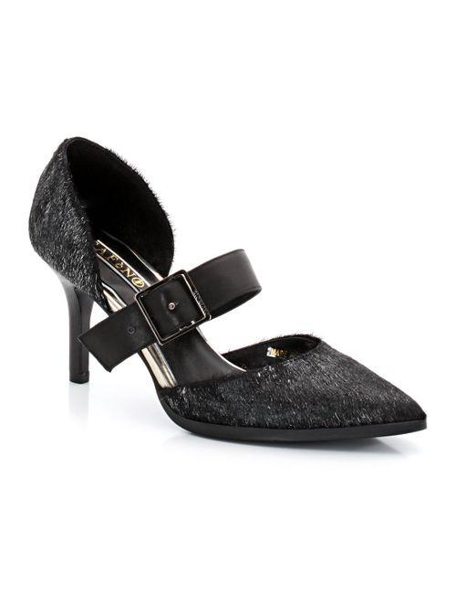 Cafènoir | Женские Чёрные Туфли-Лодочки Кожаные С Ворсом