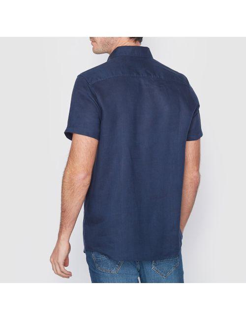 R essentiel   Мужская Синяя Рубашка 100 Льна Стандартного Покроя