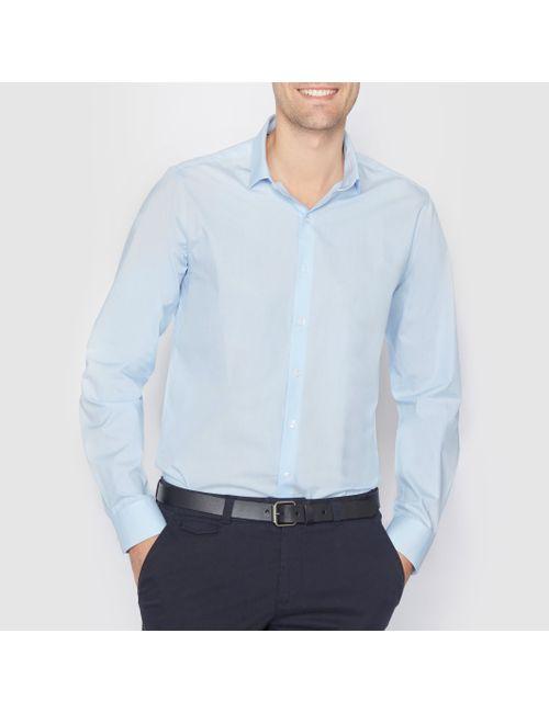 R essentiel | Мужская Синяя Рубашка Из Поплина Стандартного Покроя. Длинные Рукава