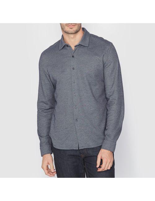 SOFT GREY | Мужская Синяя Рубашка Из Трикотажа. Длинные Рукава