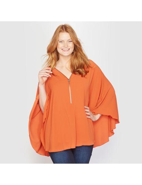 TAILLISSIME | Женская Оранжевая Блузка В Форме Накидки