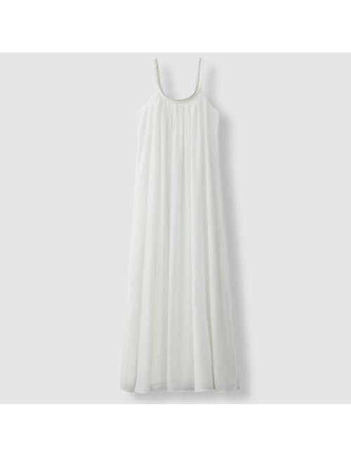 Suncoo | Женское Гренадин,Телесный,Экрящее Платье Длинное