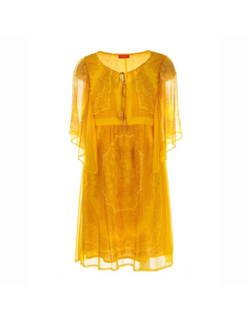 Rene Derhy | Женское Жёлтое Платье Из Вуали С Рисунком