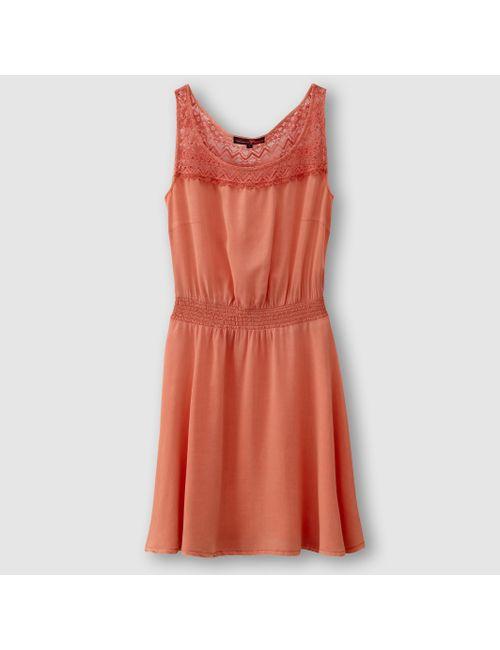 TOM TAILOR | Женское Розовое Платье Без Рукавов Из Вискозы И Кружева