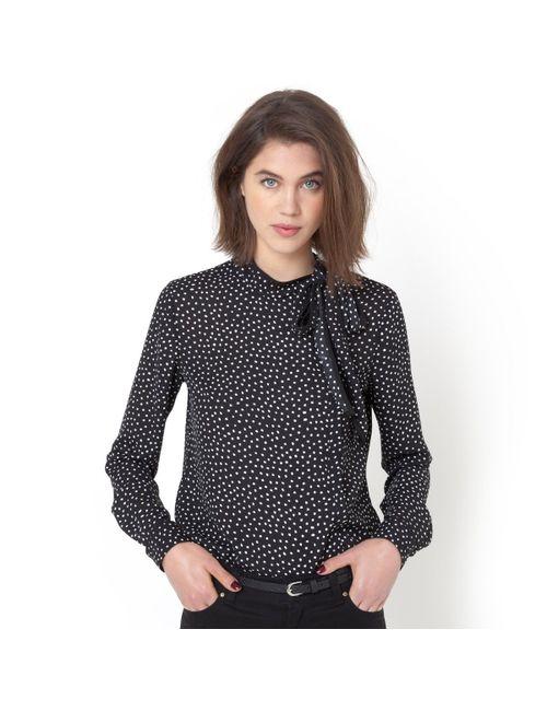 R essentiel | Женская Черный Блузка В Горошек С Завязками На Воротнике