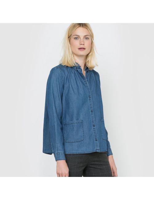 R studio | Женская Синяя Рубашка Джинсовая С Длинными Рукавами.