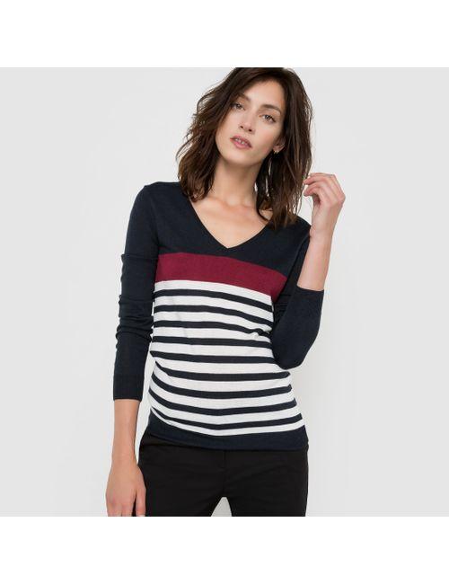 R essentiel | Женский Синий Пуловер С V-Образным Вырезом