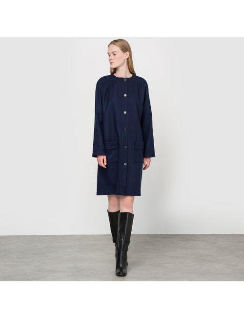 COLLECTOR X LA REDOUTE MADAME | Женское Синее Пальто Без Воротника