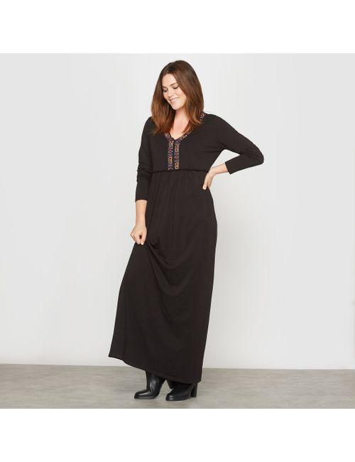 CASTALUNA | Женское Чёрное Платье Длинное Из Трикотажа Пластрон С Вышивкой